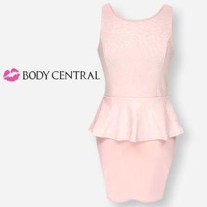 Body Central Pink Floral Textured Peplum Dress